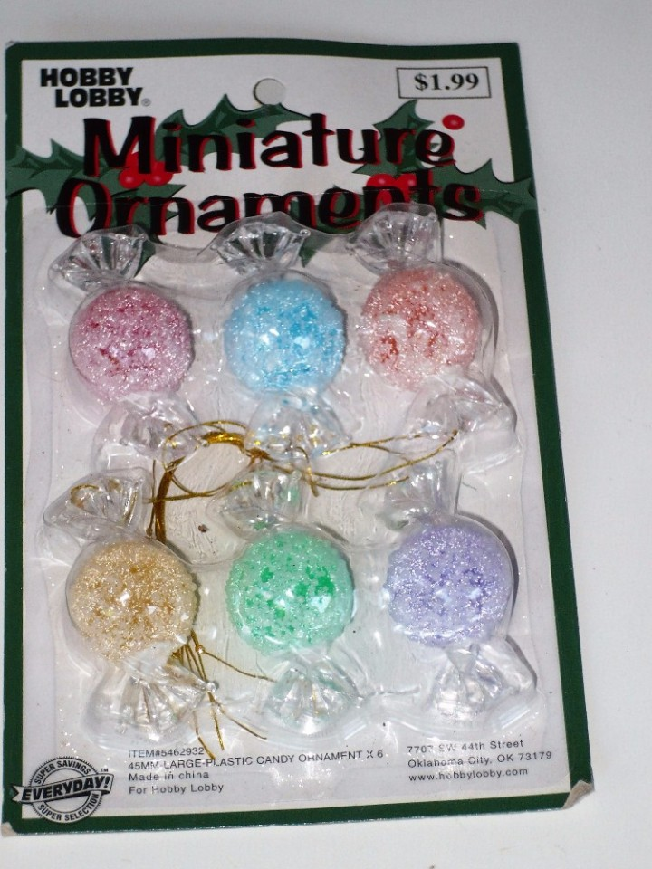 on hold new large 45 mm plastic frost candy ornament x 6 hobby lobby