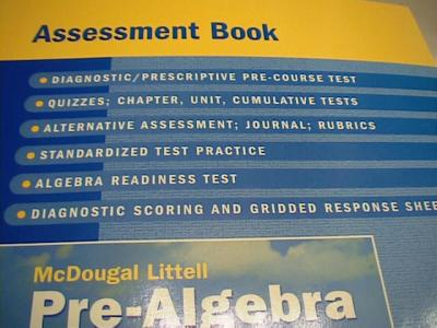eBlueJay: McDougal Littell Pre-Algebra Test book with answers