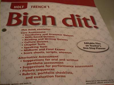 Holt French Bien Dit Level 1 Chapter Tests With Answers 2008 Used For Se 0030398886 Book