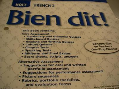EBlueJay Holt French Bien Dit Level 2 CHAPTER TESTS With