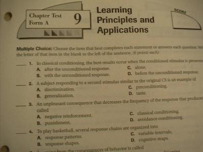 Glencoe understanding psychology chapter 6 assessment answers