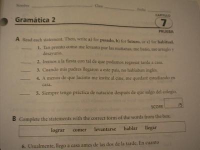 Holt Spanish 2 Expresate Chapter 5 Vocab