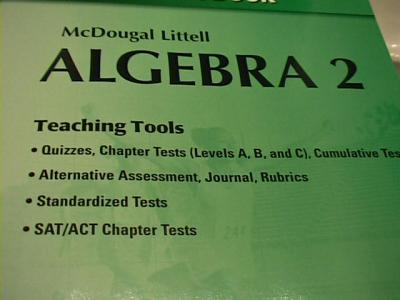 Ebluejay Mcdougal Littell Algebra 2 Quizzes And Chapter Tests With