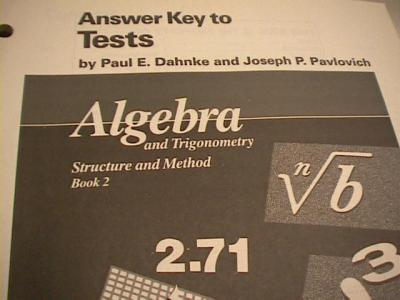 ebluejay 0395470617 answer key to tests algebra and trigonometry structure and method book 2. Black Bedroom Furniture Sets. Home Design Ideas