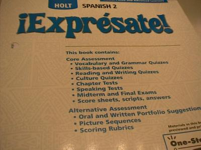 EBlueJay Holt Spanish Expresate Level 2 Test Book Without