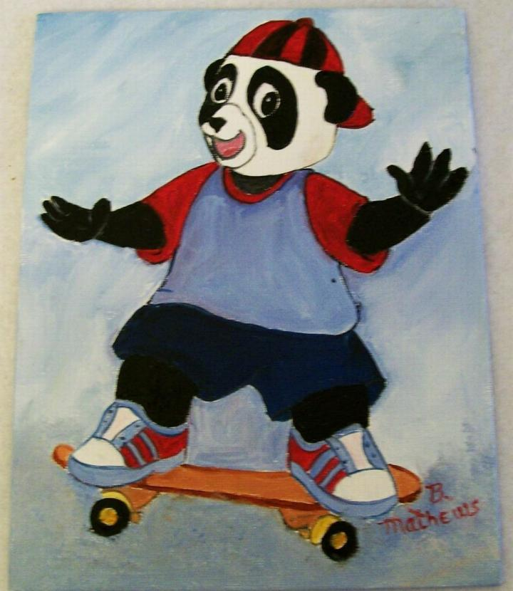 Ebluejay Bear On A Skate Board Oil Painting For Kids Kids Wall