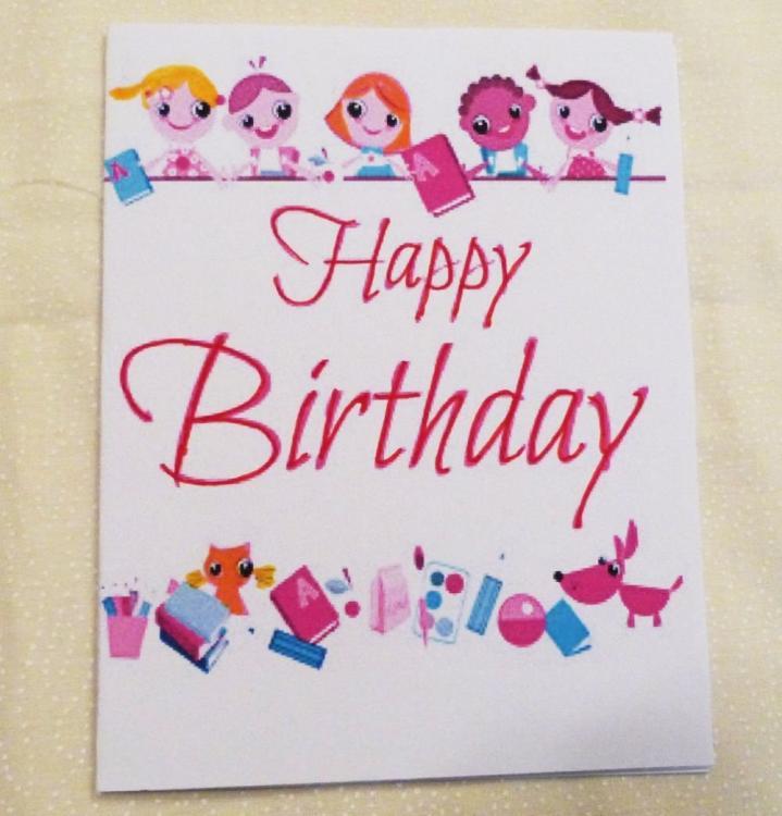 Ebluejay Handmade Greeting Card Girls Happy Birthday Card