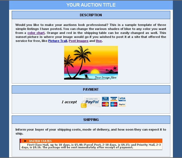 Ebluejay Auction Template Html For Your Auction Free Email Shipping