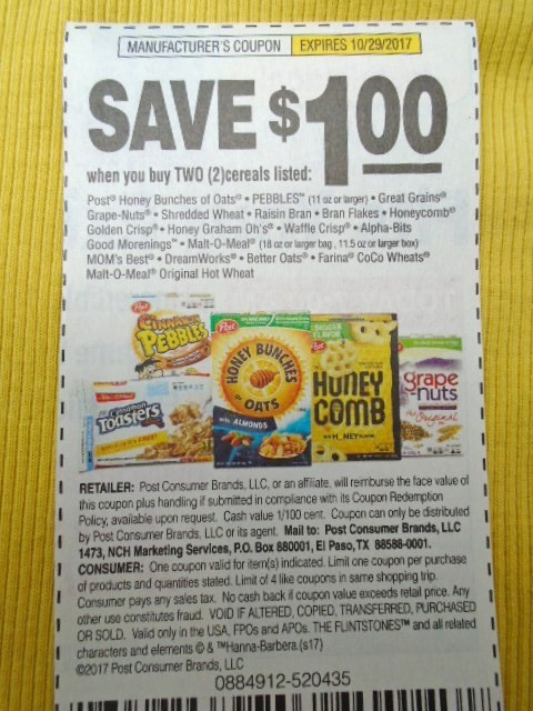 Post cereal coupons 2017 for Coupons for factory direct craft