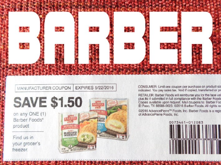 Barber Foods Coupon : barber foods coupons $ 1 50 off 1 exp 5 22 2016 grocery coupons food ...
