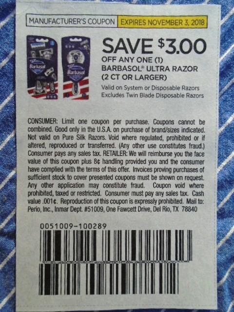 Barbasol razor coupons