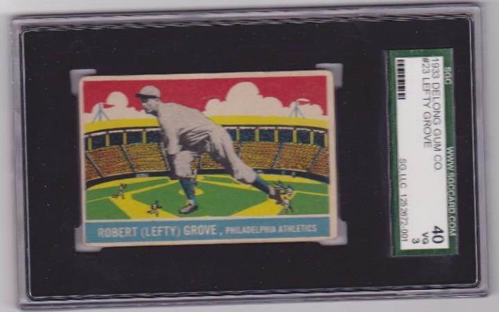 Ebluejay Lefty Grove 1933 Delong 23 Baseball Card Sgc 40 Vg 3