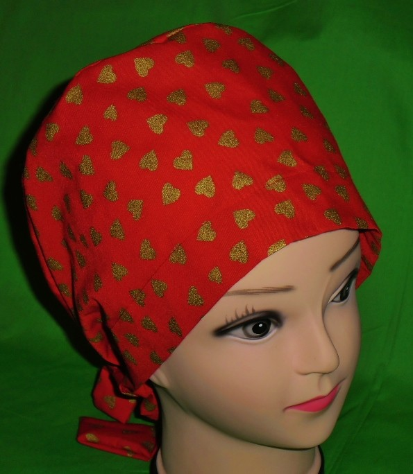 7ecdd5d33eb Nurses Scrubs Valentine Scrub Caps Red And Gold Women Surgical Ladies Pixie  Cap