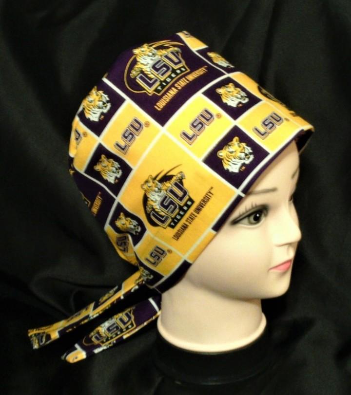 113cc7e73d567 ... purchase nurses ladies surgical medical scrubs scrub hat cap pixie hats  lsu tigers purple and gold