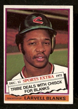 Ebluejay Cleveland Indians Larvell Blanks 1976 Topps Traded Series