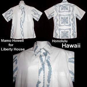 f0f5d442093b3 Vintage HAWAIIAN SHIRT White Blue HONOLULU HAWAII Signed MAMO HOWELL for  Liberty House VLV Men's-L!