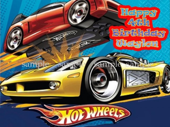 Ebluejay Hot Wheels Personalized Edible Icing Image Decoration