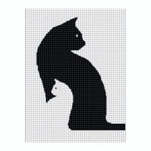 B&W Cat Blanket Free Crochet Patterns | 300x300