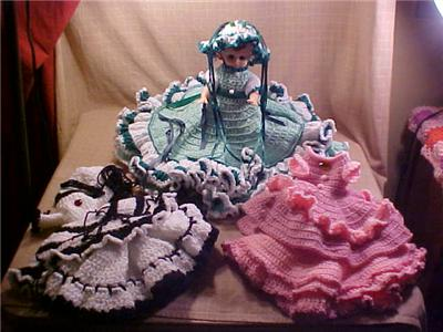 Ebluejay Beautiful Boudoir Crochet Bed Doll With Extra Dress