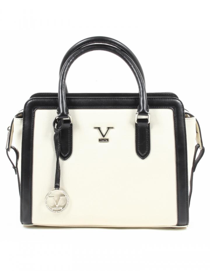 2255e7e649 V 1969 Italia Logo VE033 BEIGE Womens Leather Handbag Two Handles Purse Zip  Closure Bag For Ladies