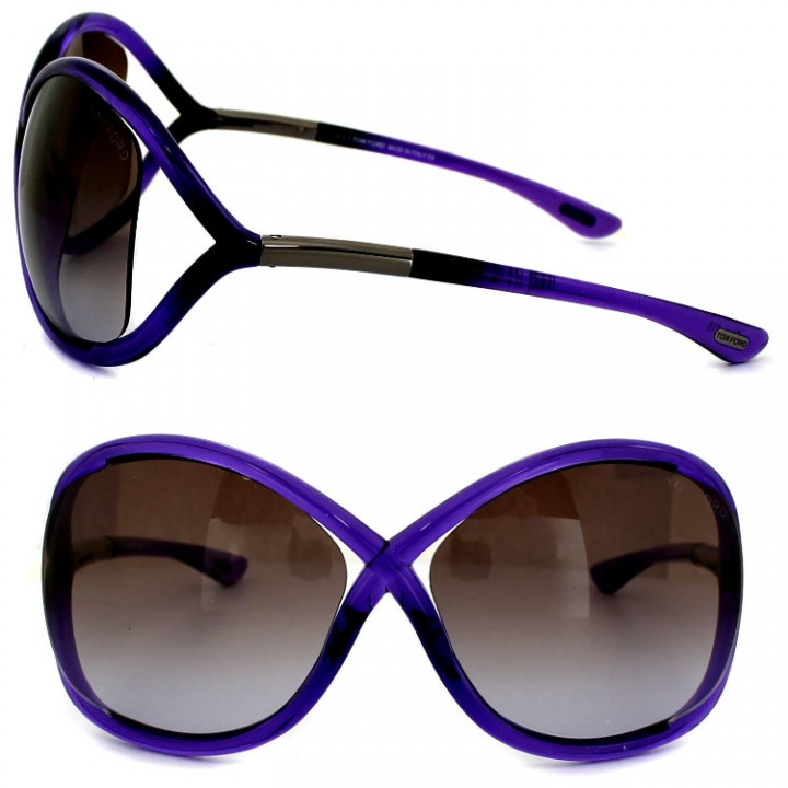 1ccdb7745f Tom Ford Oversized Italy Womens Sunglasses Whitney FT0009 78Z Purple  Cutaway Lenses
