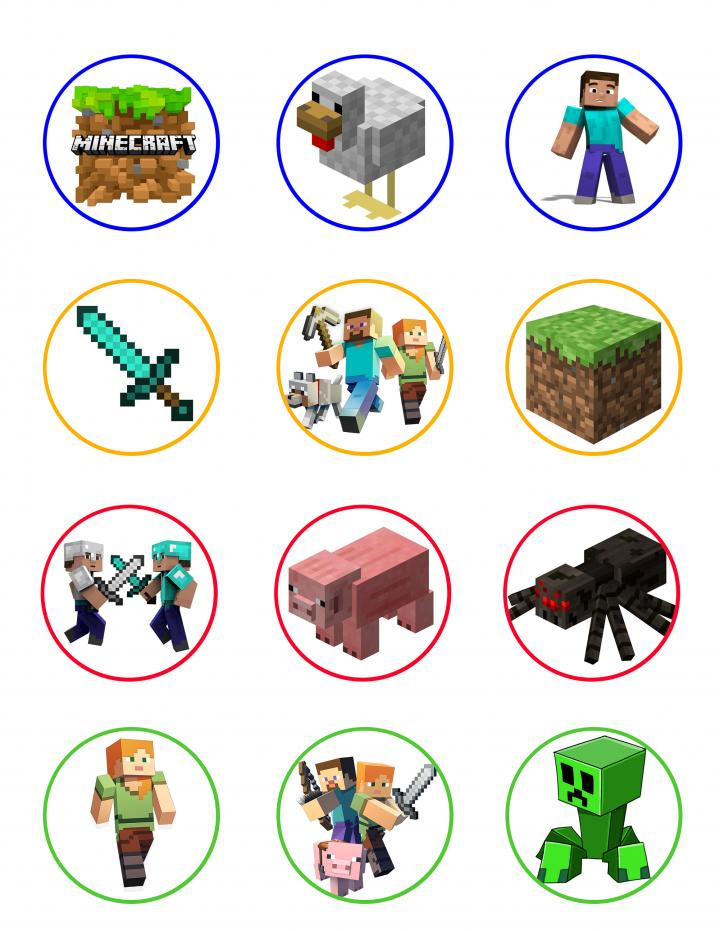Ebluejay Minecraft Edible Cupcake Toppers 12 Images Cake Image