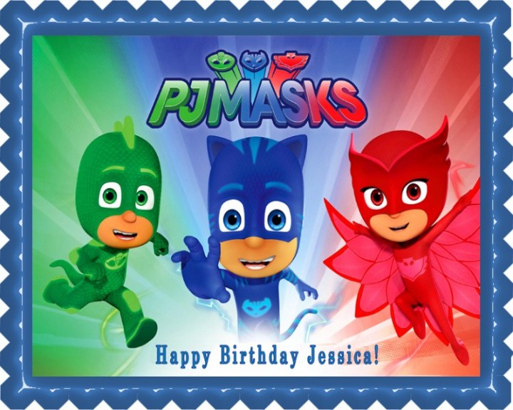 On Hold PJ MASKS 3 Edible Birthday Cake Topper OR Cupcake Decor