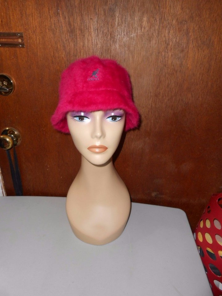 On Hold Womens Kangol Furgora Bin Pink Angora Blend Fuzzy Kangol Furgora  Bin Bucket Hat M Medium 068dc5a514d