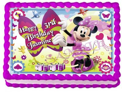 Ebluejay Minnie Mouse Edible Cake Topper Image Birthday Party