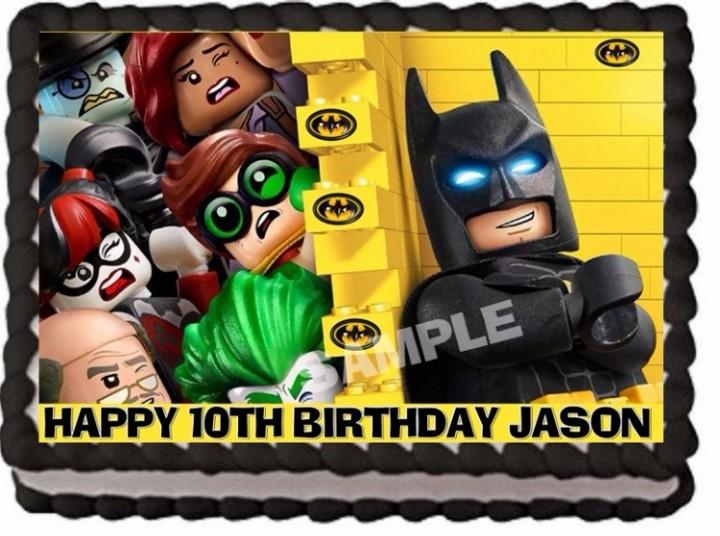 THE LEGO BATMAN MOVIE CAKE TOPPER DECORATION EDIBLE BIRTHDAY PARTY IMAGE