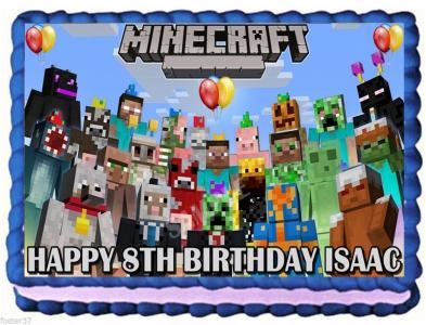 Ebluejay Minecraft Edible Cake Topper Birthday Party Cake