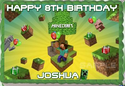 eBlueJay MINECRAFT EDIBLE CAKE TOPPER BIRTHDAY PARTY DECORATION