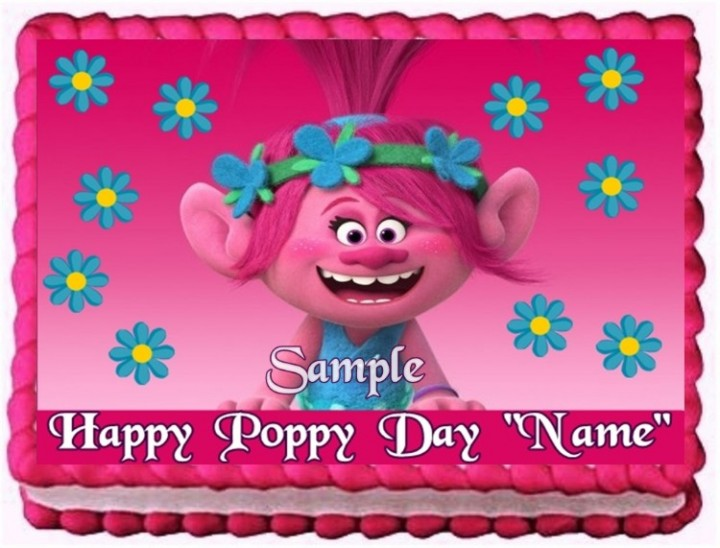 On Hold TROLLS POPPY CAKE TOPPER EDIBLE BIRTHDAY PARTY DECORATION
