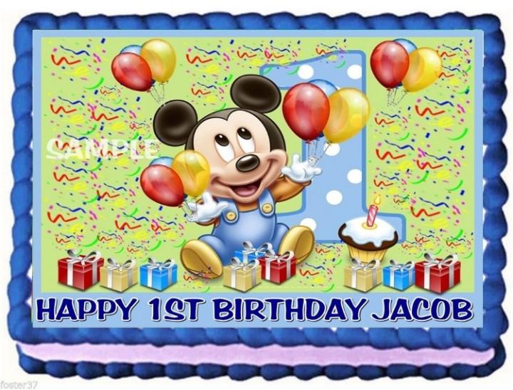 Enjoyable Ebluejay Baby Mickey Mouse Edible Cake Topper Decoration Birthday Funny Birthday Cards Online Necthendildamsfinfo