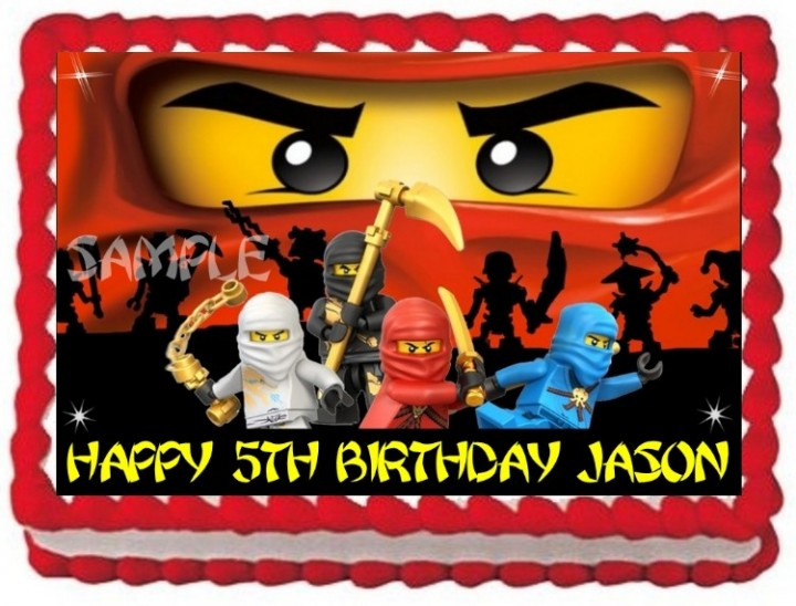 On Hold LEGO NINJAGO NINJAS EDIBLE CAKE TOPPER IMAGE BIRTHDAY DECORATION