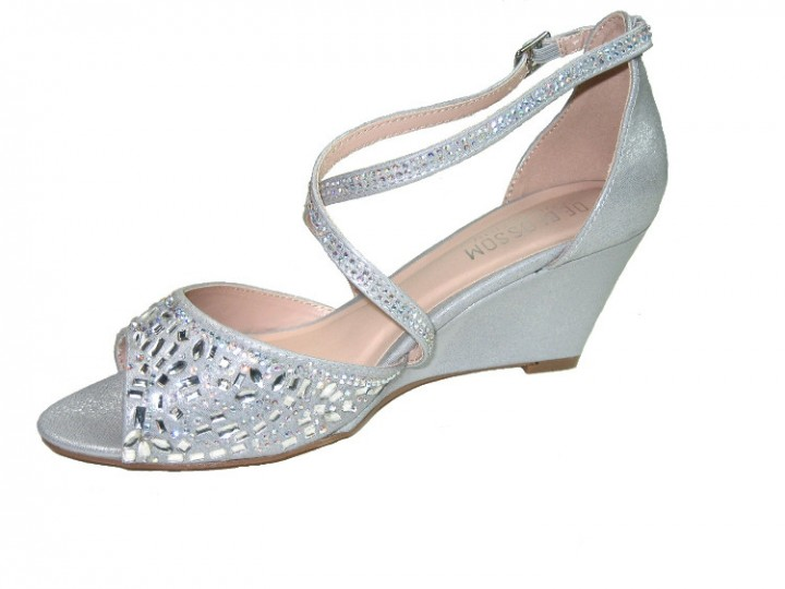 330a5194219 Blossom half-35 shimmer strappy 2.5 inch wedge heel party sandals vegan  silver size 8
