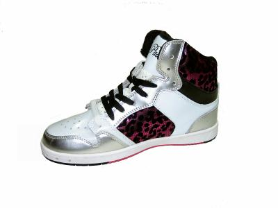5e192c6b284 Pastry Glam Pie foil cheetah women's athletic high top sneakers white pink  size 7.5