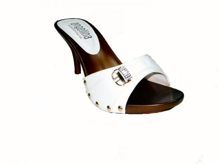 908ba68068d Blossom vote-55 one band slides mules 3.5 inch stiletto high heel sandals  shoes white size 6.5