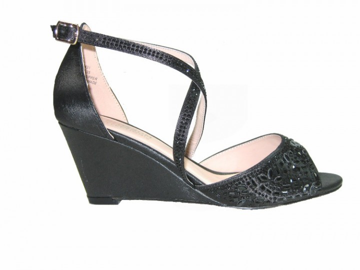 a894bfac63139 On Hold Blossom half-35 shimmer strappy 2.5 inch wedge heel party sandals  vegan black size 5.5