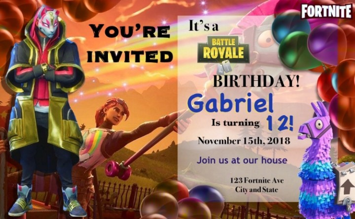 Ebluejay Fortnite 3d Drift Birthday Invitations