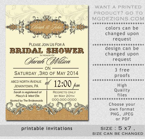 Ebluejay Printable Bridal Shower Invitation Template