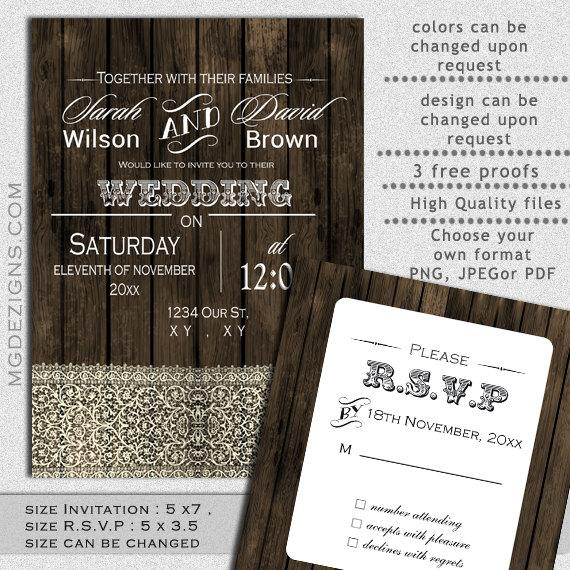 PRINTABLE Wedding Invitation Template Fall Invitations Rustic Templates