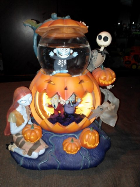 on hold nightmare before christmas jack sally barrel shock pumpkin snow globe