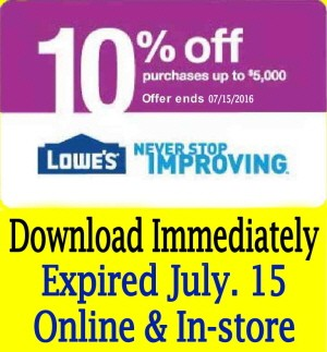 eBlueJay: (THREE) 3x Lowe's *DOWNLOAD IMMEDIATELY* Discount Coupons