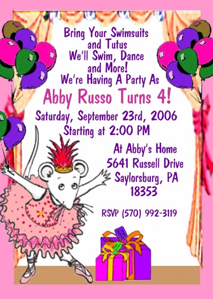 ONE DOZEN ANGELINA BALLERINA 3D BIRTHDAY INVITATIONS