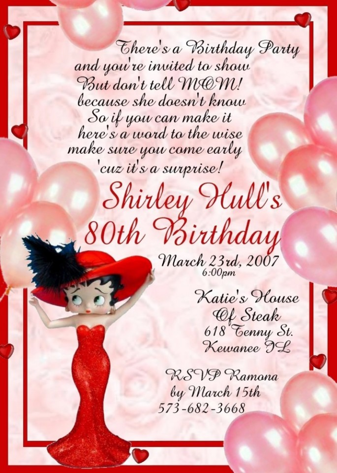 ONE DOZEN BETTY BOOP 3D BIRTHDAY INVITATIONS