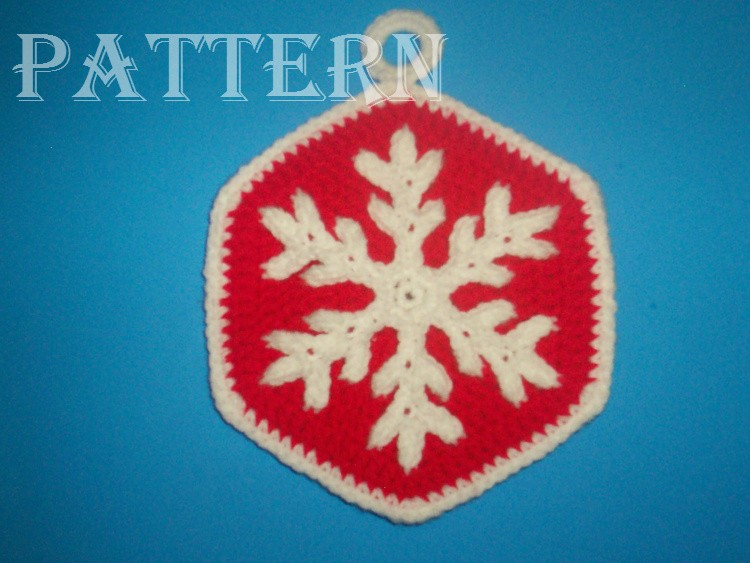 Crochet / Crocheted Christmas Snowflake Potholder / Hot Pad / Trivet (#2) PATTERN C-141
