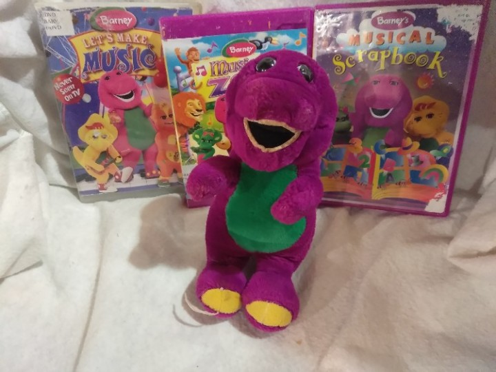 Ebluejay Barney Gift Set 95 Inches Tall Stuffed Barney 3 Dvd Set