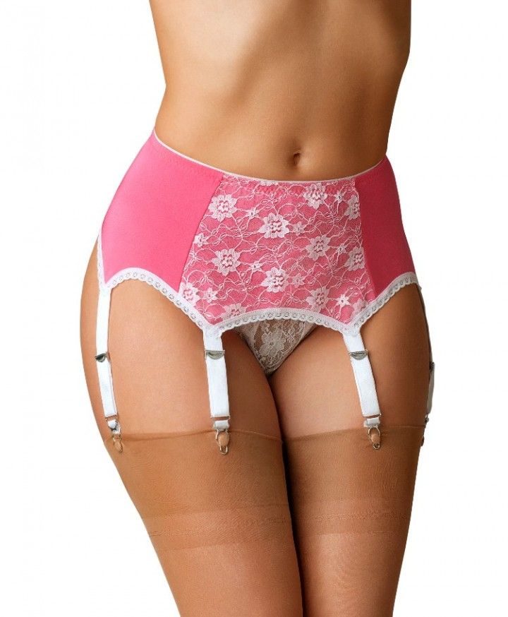 07875587e5d (XL) Premier Lingerie 6 Strap Garter Belt with Lycra Panels for Stockings  (SSL66)  PINK XL