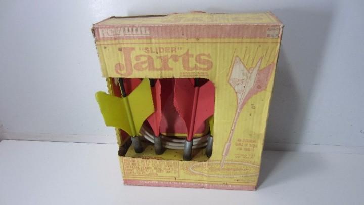 6088392f Sold Vintage Set of Original Regent Slider Jarts Lawn Darts Target Game -  Red Fins Damaged